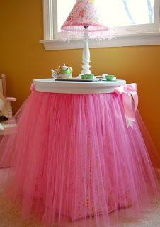 Pink table tutu