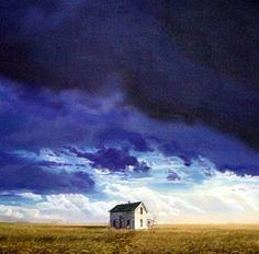 """""""Storm Clearing Flatland"""",oil, 32""""x 32"""" - Bruce Cascia"""