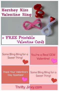 Hershey Kiss Ring Valentine Craft with Printable Cards! - Thrifty Jinxy