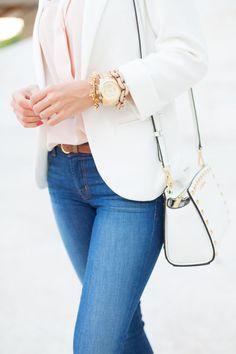 White blazer, jeans and blush rose blouse