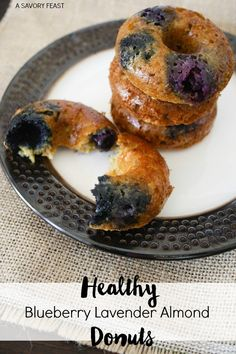 Healthy Blueberry Lavender Almond Donuts. Gluten Free and Processed Sugar Free!