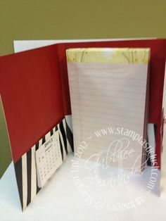 Stampin Up! File Folder Legal Pad Cover with Mini Calendar (inside)