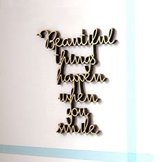 "Deko Holzschriftzug / wooden wall decoration ""Beautiful things happen"" by nogallery via DaWanda.com"
