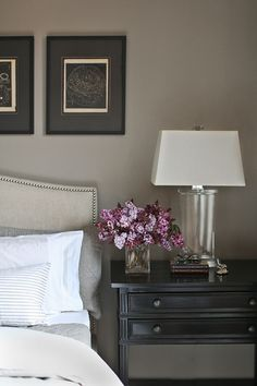 Classic neutral colour palette, especially like the black bedside table. #interior #interiors #bed #bedroom #bedside #neutrals #neutral #lamp #classic