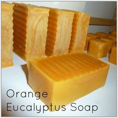 Orange Eucalyptus Cold-Process Soap Recipe (With Annatto Seed Infused Olive Oil) Soap Making Recipes, Homemade Soap Recipes, Cold Press Soap Recipes, Savon Soap, Milk Soap, Cold Process Soap, Soap Molds, Handmade Soaps, Diy Soaps
