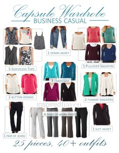 Business casual capsule wardrobe: 25 pieces, combinations Inspired Haven Capsule Wardrobe 2018, Capsule Outfits, Fashion Capsule, Wardrobe Basics, Wardrobe Ideas, Teacher Wardrobe, Business Casual Outfits, Looks Style, Mode Style