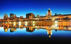 Blue Evening On Old Montreal Skyline, Quebec, Canada Places Around The World, Oh The Places You'll Go, Places To Travel, Places To Visit, Around The Worlds, Old Montreal, Montreal Ville, Montreal Quebec, Montreal Food