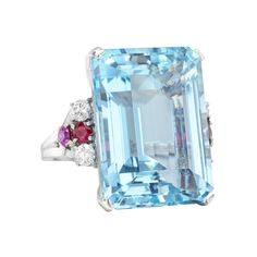 Estate Tiffany & Co. Aquamarine Cocktail Ring with Ruby & Diamond