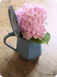 Little blue antique enamel pitcher from France.