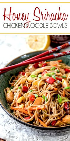Sweet and spicy Honey Sriracha Chicken Noodle Bowls smothered in the most delectable sauce that will have you wishing for more long after the last slupercilious bite.