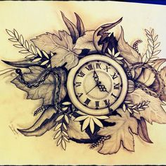 Pocket watch sketch. Beautiful leaves in the background. As a tattoo I'd simplify it a bit.
