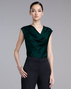 St. John - Shop Online - Tops - Liquid-Satin Cowl-Neck Blouse