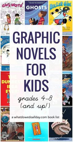 Top Graphic novels for kids - grades 4 through 8, ages 9 and up. Middle School Libraries, Elementary Library, Elementary Schools, Upper Elementary, Classroom Libraries, Class Library, Public Libraries, Classroom Decor, Kids Reading
