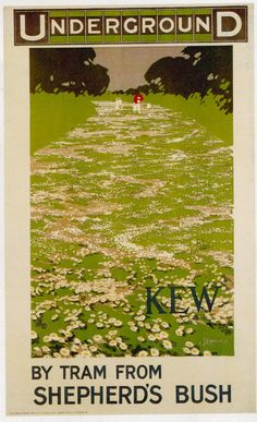"illustration : affiche UK, ""Kew by tram from Shepherd's bush"", London Underground, Posters Uk, Train Posters, Railway Posters, Poster Prints, Art Print, London Underground Tube, London Poster, Vintage Graphic Design, Vintage London"