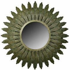 Imposing Maitland Smith Brass Acanthus Leaf Convex Mirror