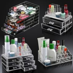 Acrylic Clear Make Up Organiser Cosmetic Display Jewellery Drawers Storage Case in Health & Beauty, Make-Up, Make-Up Cases & Bags | eBay