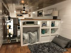 """""""The Movie Star"""" is an 8′ x 26′ tiny home with a base price of $44,950 plus the customer's chosen upgrades with an approximate weight of 12,480 pounds on a drop-axle trailer for added headroom. For more photos and a video tour check out """"The Movie Star"""" on our website."""