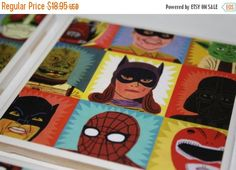 Pre-Moving Sale take 2 Comic Book themed, ceramic tile, drink coasters! Neat superhero themed print! Unique gift! Awesome Boyfriend Gift