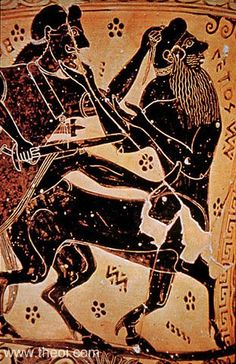 Herakles slaying Nessus the Centaur. A popular scene, a fateful turning point in the life of Herakles, because the blood of the killed centaur will eventually poison the hero.   Greek vase, Athenian black figure amphora