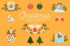 Christmas illustration with angels by AnzhelikaGerman on @creativemarket