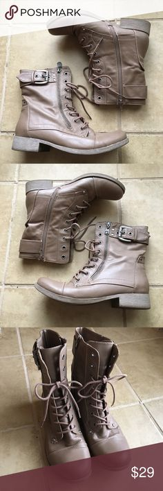 Cozy Tan Vegan Combat Boots These are so great! Zips up side with adjustable string ties in front and buckles. Well loved and cared for with price accounting wear. Shoes Combat & Moto Boots