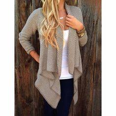 Asymmetric Casual Coat Open Knit Cardigan