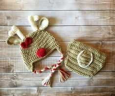 Little Miss Reindeer Beanie and Matching por mamamegsyarnshoppe