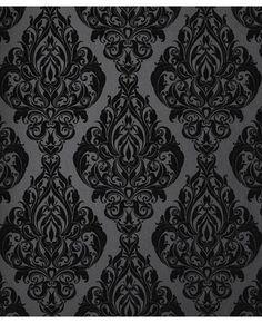 Ideas For Damask Wallpaper Bedroom Black Powder Rooms Flock Wallpaper, Gothic Wallpaper, Damask Wallpaper, Bathroom Wallpaper, Velvet Wallpaper, Brown Wallpaper, Wallpaper Samples, Black Wallpaper For Walls, Office Wallpaper