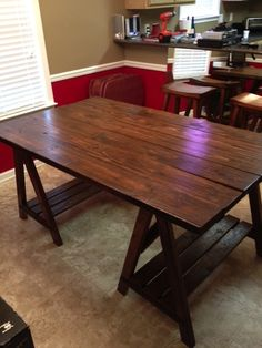 """Sawhorse Table for the corn crib. . Outdoor """"party"""" Family get together Barn..Cookouts ect"""