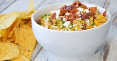 Mexican Street Corn Dip Recipe with Crisp Bacon   Game Day Homegating