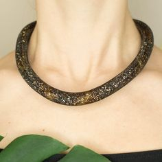 Copper and antique gold thick rope mesh necklace by TubesJewelry on Etsy                                                                                                #necklace #thick #rope #antique #vintage #snake #mesh #crochet #choker #gold #statement #assessories #bold #tube #copper #beads #handmade #etsy