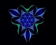 Klinge Sx - arte cadena, geometría sagrada, psychedelic, arte de la pared, decoración casera, mandala, zen, arte 3D, don espiritual, yoga, Ultravioleta, luz negra