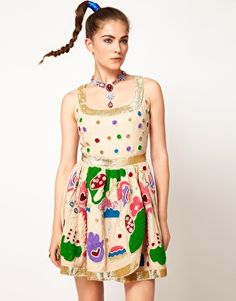 Enlarge Manoush Evening Dress With Contrast Embellishment // in its all weirdness i find this piece particularly cute