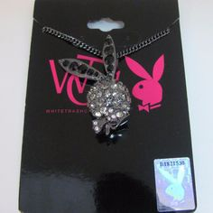 Playboy Necklace Pendant w Chain Swarovski Crystal 3D Bunny White Trash Charms #Playboy #Pendant