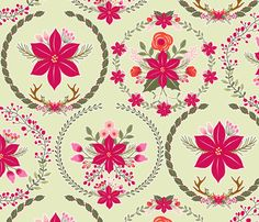 boule_de_noel_poinsettia_vert_L fabric by nadja_petremand on Spoonflower - custom fabric