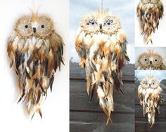 Dream Catcher Owl, Brown shades. With feathers and wooden beads. #Handmade