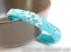 Neon blue polymer clay bangle - Selected Israel Handmade Jewelry Designs