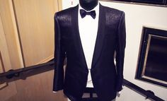 LOOK 1 - Lanvin Zebra Shawl Collar Dinner Jacket £1760.00 ||  Lanvin Fitted Front Shirt €330.00 || Lanvin Alber Bow Tie £430.00