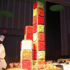 Stacks of carnation-covered cubes depicted summer. Photo: BizBash