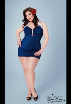 The Bettie Retro One Piece Swimsuit in Navy Blue by Pinup Couture - Plus Sizes