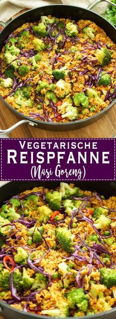 vegetarische Reispfanne Rezept (Nasi Goreng) mit Brokkoli, Erbsen, Rotkohl, Chili. Gesund und einfach.