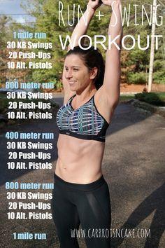 Run + Swing Kettlebell Workout - Carrots 'N' Cake