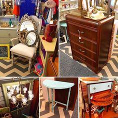 Lots of booth updates today! #dresser #artdeco #mirrors #sewingtable #chandelier #teal #beaverton #vintagebooth