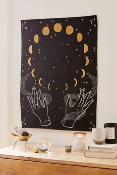 Shop Cosmic Hand Tapestry at Urban Outfitters today. Pintura Hippie, Decoration Bedroom, Art Decor, Diy Décoration, Aesthetic Rooms, Boho Decor, Wall Tapestry, Space Tapestry, Bedroom Decor