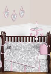 Elizabeth pink and gray baby damask crib bedding