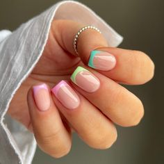 French Nail Designs, Colorful Nail Designs, Acrylic Nail Designs, Colorful Nails, Nail Design Glitter, Nail Design Spring, Nails Design, Bling Acrylic Nails, Gel Nails