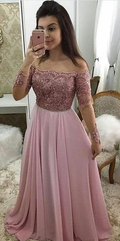 Off Shoulder Full Sleeves Long Prom Dress 2019 Custom Made Beaded Pink Evening Party Dress, Shop plus-sized prom dresses for curvy figures and plus-size party dresses. Ball gowns for prom in plus sizes and short plus-sized prom dresses for Pink Prom Dresses, Plus Size Prom Dresses, A Line Prom Dresses, Evening Dresses, Formal Dresses, Bridesmaid Dresses, Wedding Dresses, Vestidos Country, School Dance Dresses