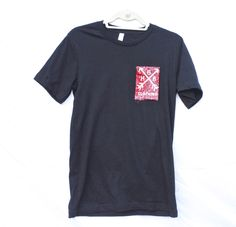 red, bandana, pocket, tee. with the HBB arrow logo  you love it.   Unisex tee **Ladies may want to order a size down