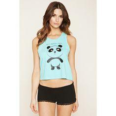 Forever 21 Women's  Panda PJ Set (98 CNY) ❤ liked on Polyvore featuring intimates, sleepwear, pajamas, panda bear pajamas, forever 21 pajamas, forever 21 pjs, panda pjs and forever 21 sleepwear