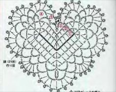 Crochet heart diagram from Asahi crochet magazine Crochet Diagram, Crochet Motif, Crochet Yarn, Crochet Flowers, Crochet Dolls Free Patterns, Crochet Stitches Patterns, Chevron Crochet Blanket Pattern, Heart Diagram, Crochet Baby Jacket